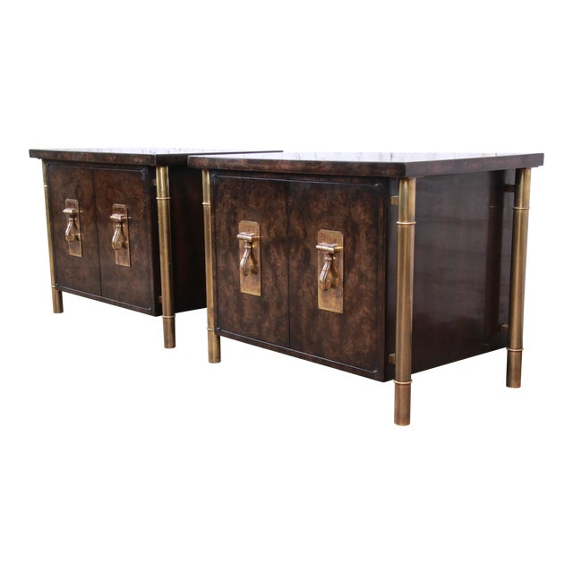Bernhard Rohne for Mastercraft Hollywood Regency Faux Bamboo Brass and Burl Bedside Chests - a Pair For Sale