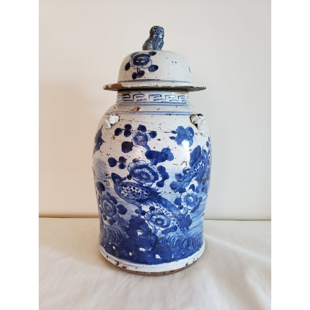 Asian Asian Blue and White Temple Ginger Jar For Sale - Image 3 of 3