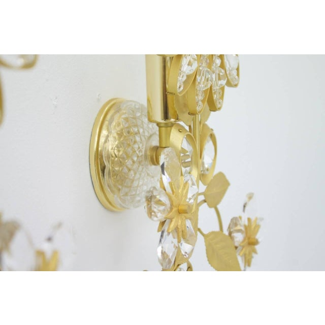 Pair of Wall Sconces Crystal Glass and Brass by Faustig Germany, 1970s For Sale - Image 4 of 10