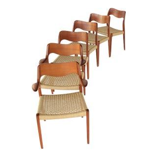 1960s Vintage Niels Møller Teak Dining Chairs- Set of 6 For Sale