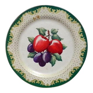 Vintage Tin Decorative Plate With Still Life Fruits For Sale