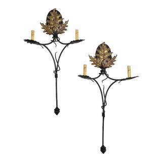 Handmade Iron and Bronze Sconces - a Pair For Sale
