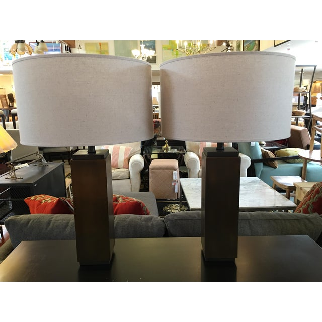 Traditional Restoration Hardware Square Column Table Lamp - A Pair For Sale - Image 3 of 7