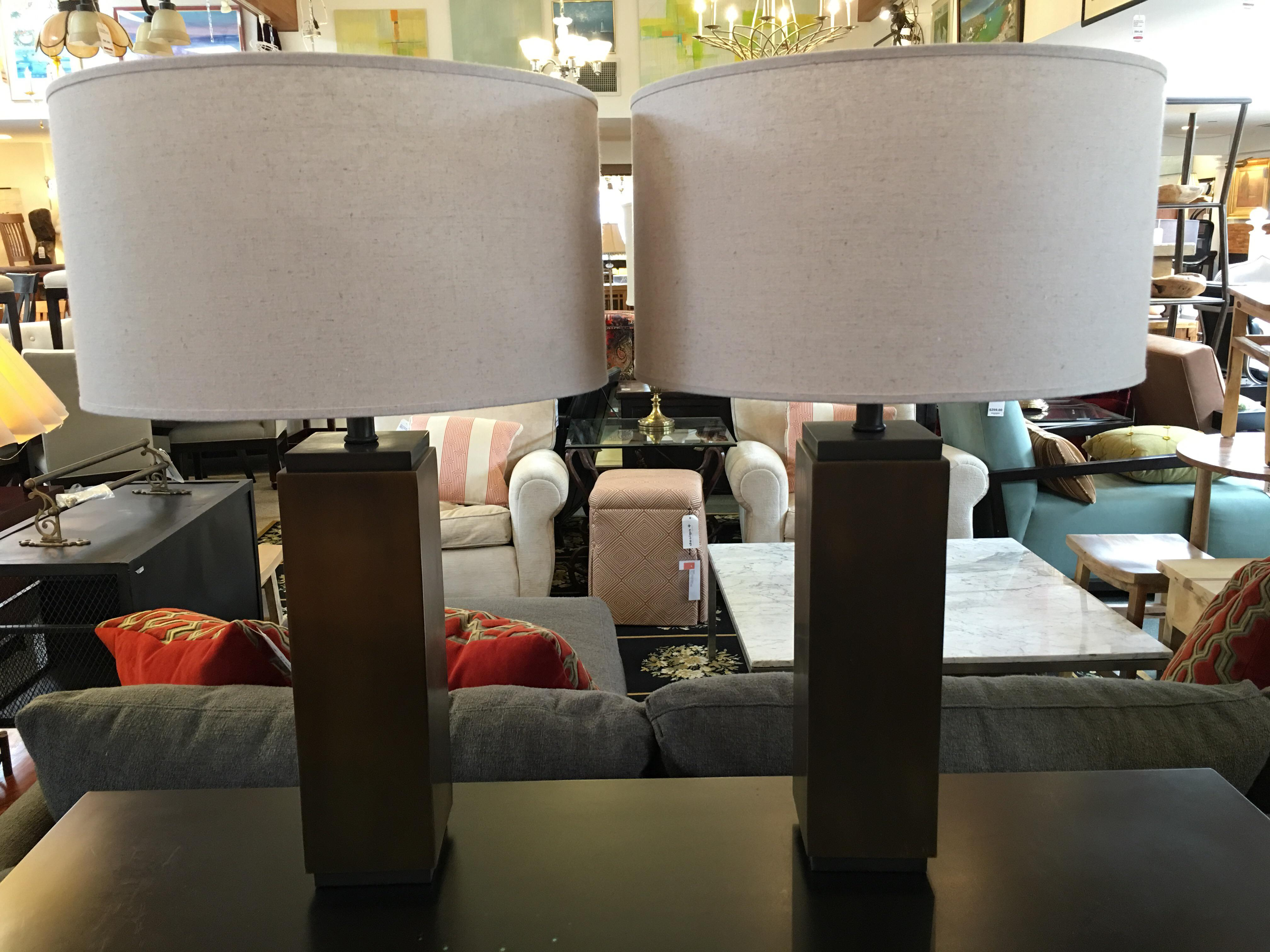 Restoration Hardware Square Column Table Lamp   A Pair   Image 3 Of 7