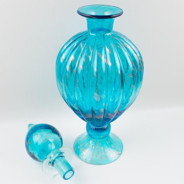 Italian Italian Empoli Hand Blown Turquoise Glass Lidded Apothecary Jar Dispenser For Sale - Image 3 of 13
