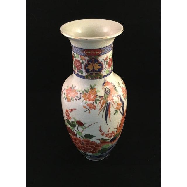 Japanese Floral and Bird Crackle Glazed Vase For Sale - Image 4 of 13