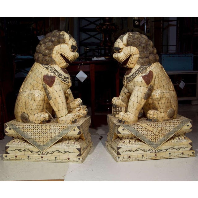 1940s Pair of Palace Sized Bone Foo Dogs Sculptures For Sale - Image 5 of 11