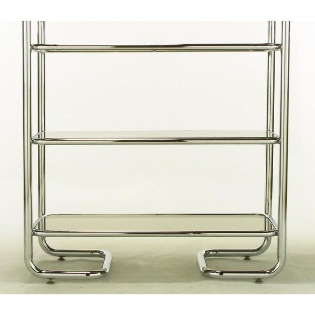 Tubular Chrome & Smoked Glass Five Shelf Etagere. - Image 10 of 10
