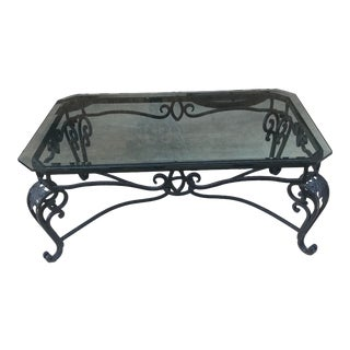 Mid 20th Century Italian Style Wrought Iron Scroll Base Coffee Table For Sale