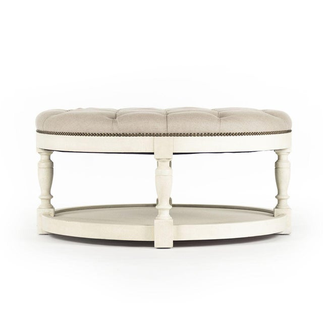 2020s Edmonds Ottoman in Natural Linen For Sale - Image 5 of 5