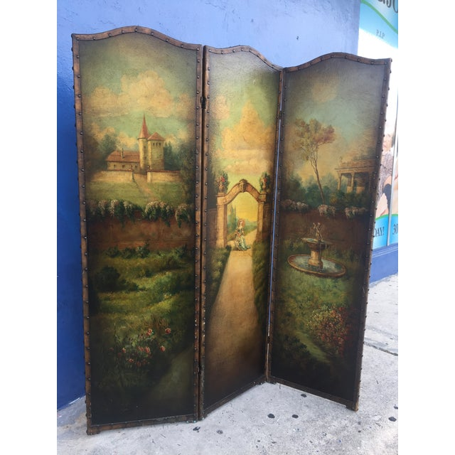 Baroque 6 Ft Antique Painted Leather Screen W/ Pastural Scene For Sale - Image 3 of 10