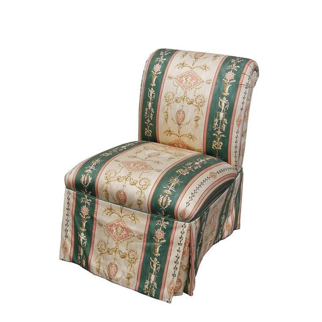 Green French Upholstered Cherub Neoclassical Napoleon III Slipper Chair For Sale - Image 8 of 8