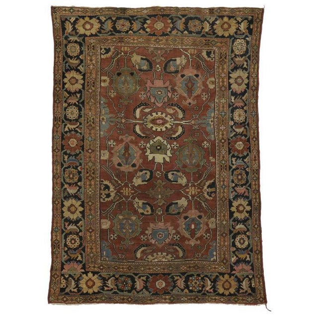 Antique Persian Sultanabad Rug with Traditional Modern Style For Sale In Dallas - Image 6 of 8