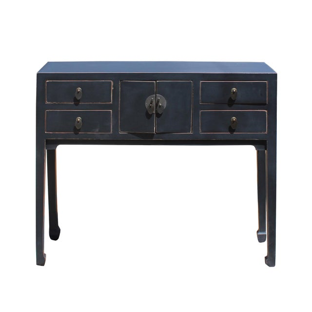 Black Chinese Oriental Rustic Black Lacquer Drawers Side Table For Sale - Image 8 of 10