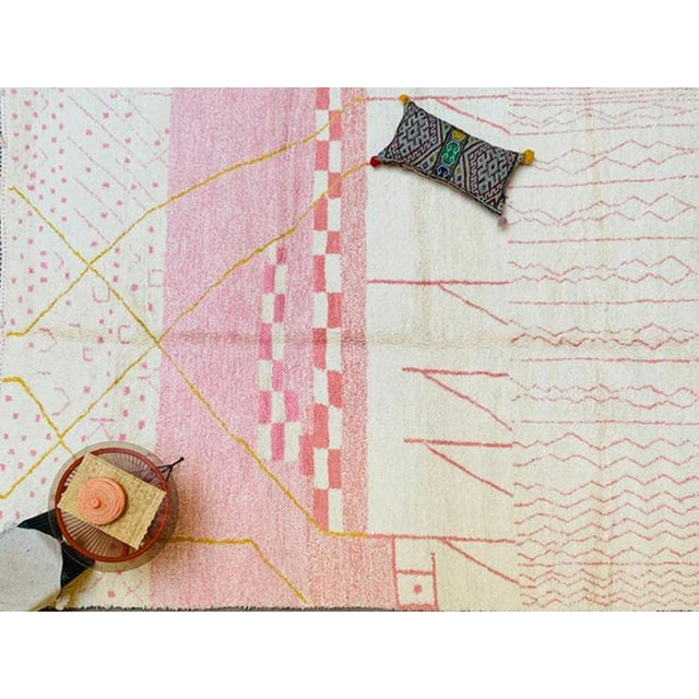 Alabaster Pink Moroccan Rug - 9′10″ × 13′3″ For Sale - Image 8 of 11