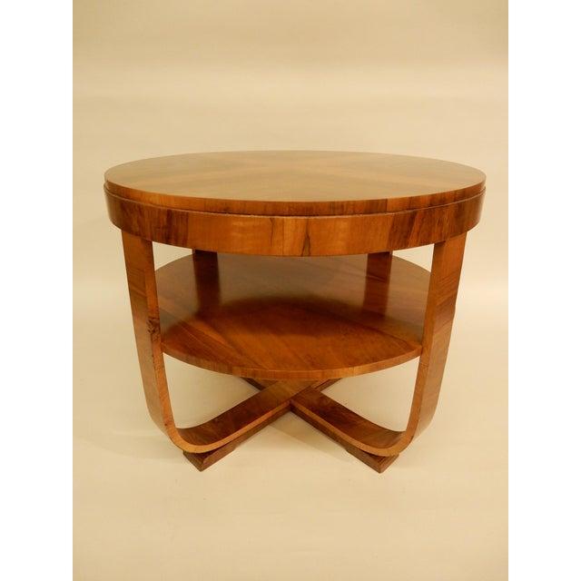 Northern European Walnut 1930's round Art Deco side table with shelf.