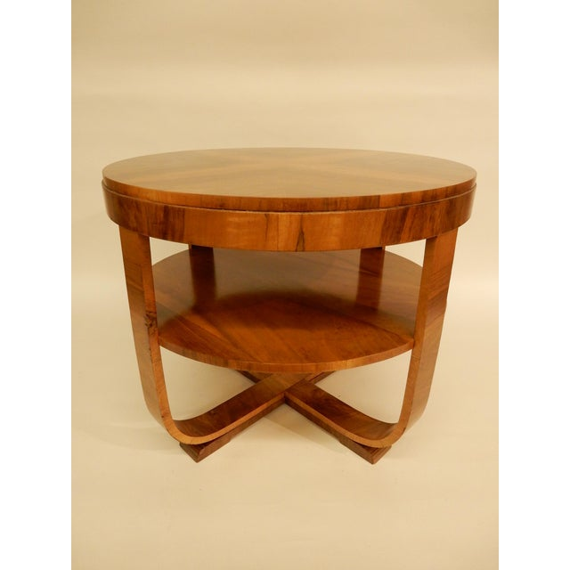 Northern European Walnut 1930's round Art Deco side table with shelf.