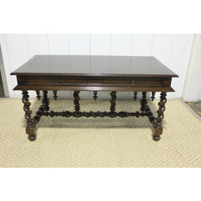 Wood 1800s Traditional Portuguese Desk With Two Drawers For Sale - Image 7 of 7