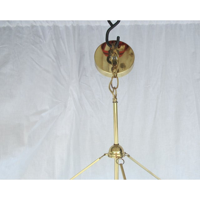 Art Deco Revival Tiered Brass & Glass Chandelier - Image 4 of 5