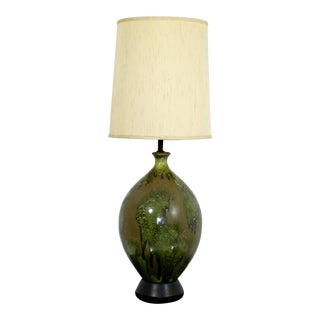 Mid-Century Modern Green Drip Lava Glazed Ceramic Table Lamp For Sale