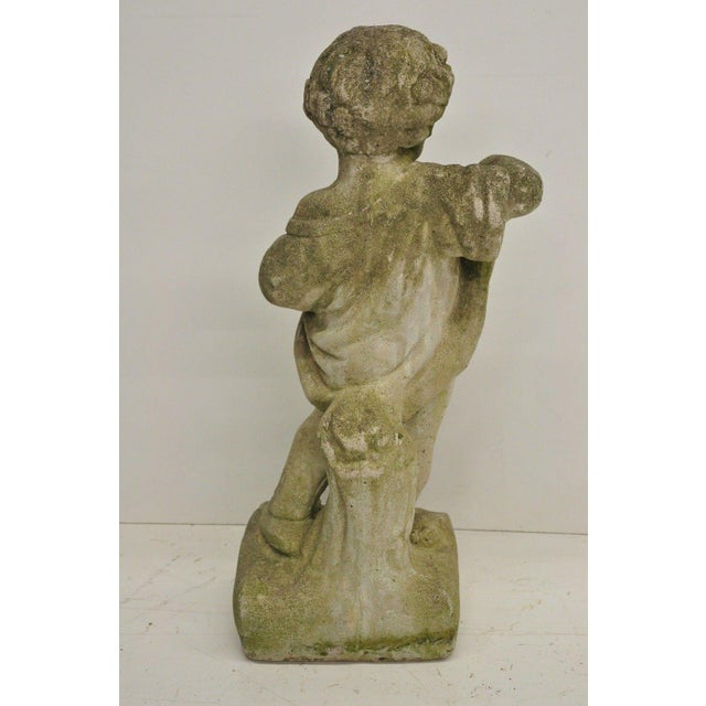 Pair of Concrete Four Seasons Style Baby Cherub Cement Garden Sculptures For Sale - Image 11 of 12