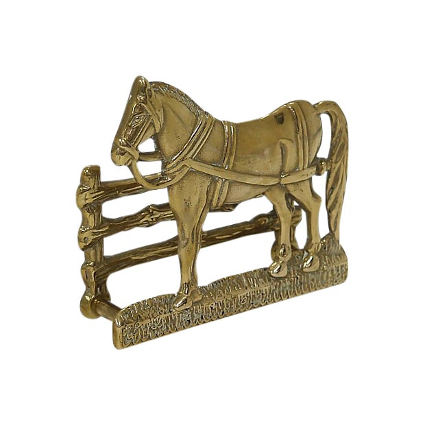 Antique English Brass Horse Letter Rack For Sale
