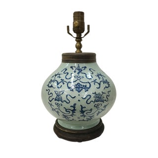 19th Century Asian Antique Celadon and White Table Lamp For Sale