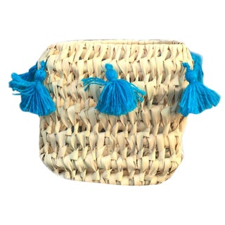 Moroccan Turquoise Tassel Basket For Sale