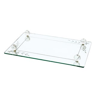 Etched Glass Vanity Mirror Tray For Sale