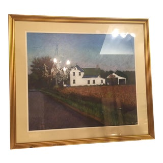 Autumn Landscape Signed Pastel For Sale