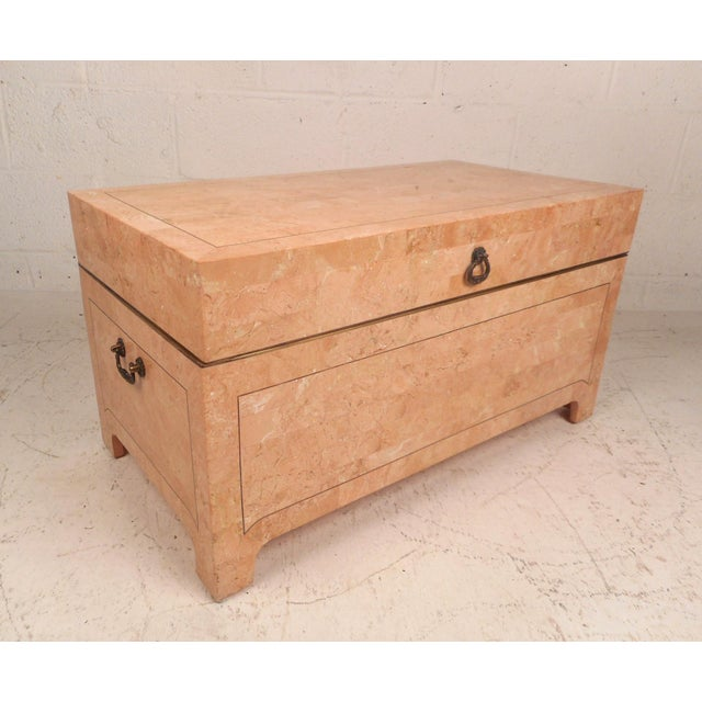 Vintage Modern Maitland-Smith Storage Box in Pink Tessellated Stone For Sale - Image 10 of 10