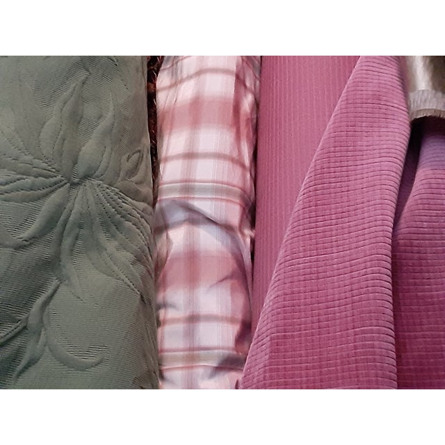 Pindler and Pindler Designer Silk Infused Woven Raspberry Pink and Light Green on Cream Woven Plaid - 10 Yards For Sale - Image 9 of 11