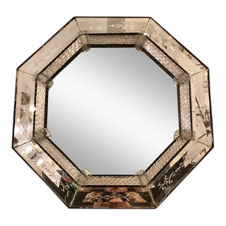 Unusual Vintage Hollywood Regency Hexagonal Venetian Glass Mirror For Sale