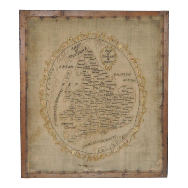 Early 19th Century Map of England and Wales Sampler For Sale