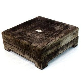 1970s Vintage Square Deep Bronze Velvet Upholstery Ottoman Footstool Preview