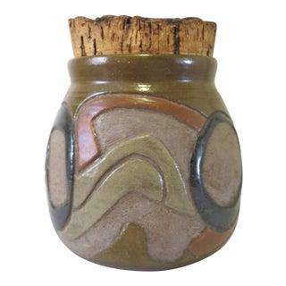Vintage Studio Pottery Jar with Cork Lid