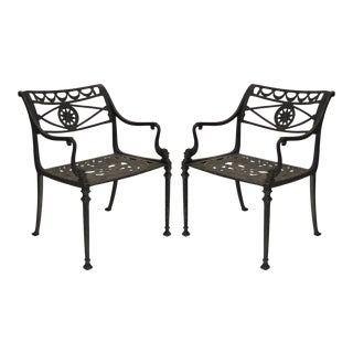 Neoclassical Style Dolphin Cast Aluminum Patio Armchairs Chairs - a Pair