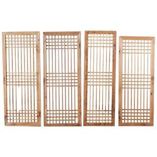 1900s Vintage Chinese Geometric Lattice Window Panels- Set of 4 For Sale