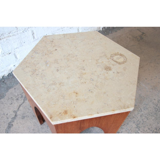 1960s Harvey Probber Mid-Century Modern Walnut and Travertine Hexagonal Side Table For Sale - Image 5 of 7