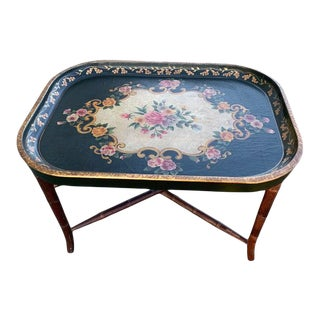Vintage Faux Bamboo Floral Tray Table/ Coffee Table For Sale