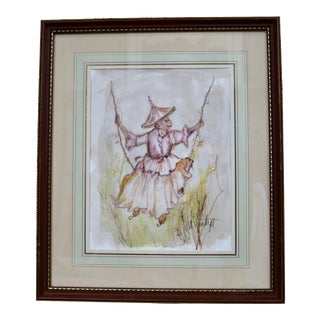 Original Chinoiserie Monkey on a Swing Watercolor Painting Signed by Diane Voyentzie For Sale