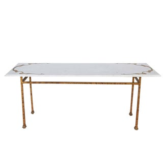 Mid Century Vintage Italian Marble Top & Gilt Iron Base Console Table For Sale