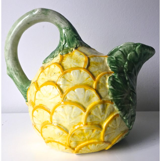 Cottage Vintage Lemon & Cabbage Leaf Pitcher For Sale - Image 3 of 8