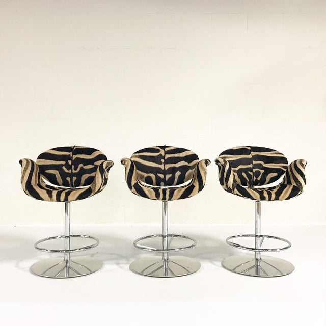 Vintage Pierre Paulin Tulip Bar Stool Chairs Restored in Zebra Hide - Set of 3 For Sale - Image 9 of 9