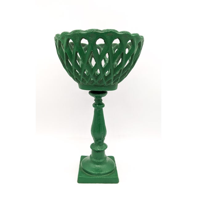 Art Deco Large 20th Century Green Cast Iron Compotes - a Pair For Sale - Image 3 of 10