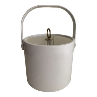 Vintage White Vinyl Ice Bucket For Sale