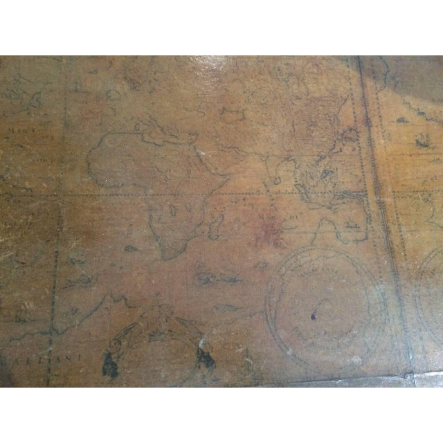World Map Suitcase Table With Leather Straps and Buckles For Sale In Nantucket - Image 6 of 11