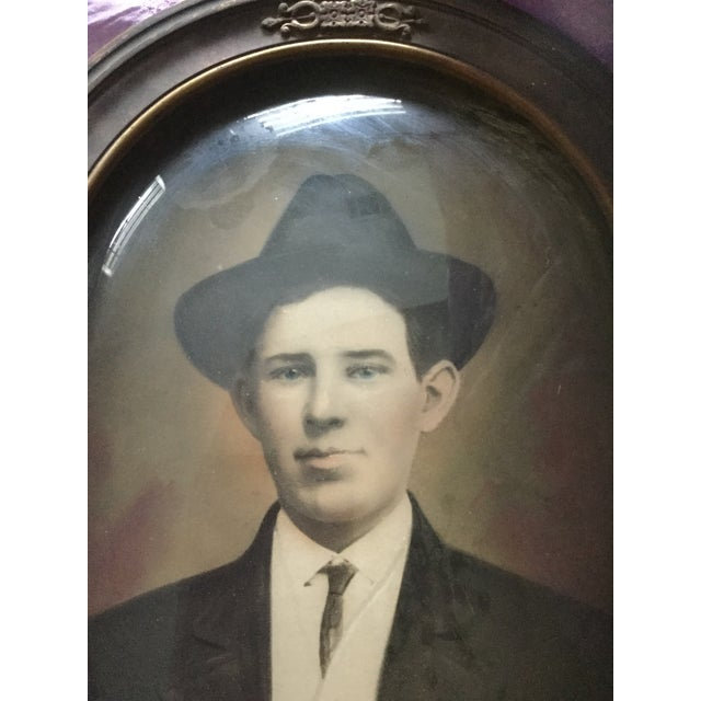 Rustic Antique Convex Glass Handsome Gent Portrait For Sale - Image 3 of 4