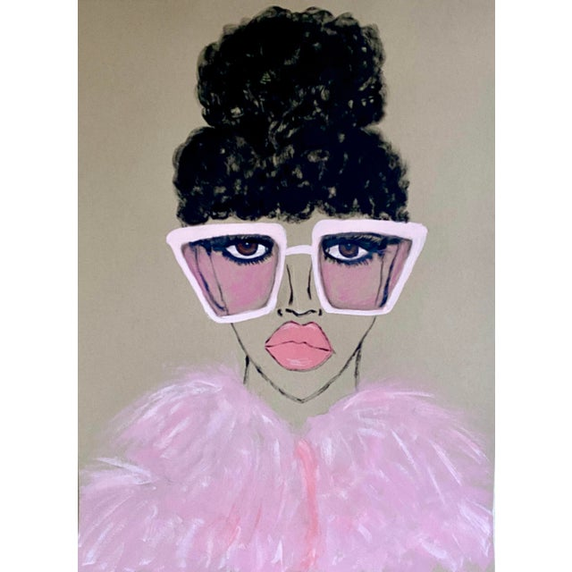 Figurative Contemporary Pink Lady Painting For Sale - Image 3 of 3