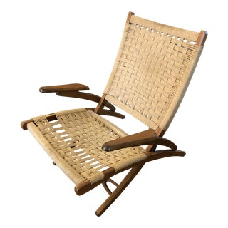 Organic Mid Century Modern Woven Rope and Teak Folding Armchair For Sale